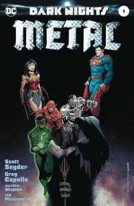 DARK NIGHTS: METAL #1 the regular edition features a foil-stamped embossed cover by Greg Capullo)