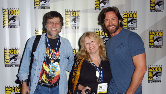 SAN DIEGO - JULY 24: Writer Len Wein, wife and actor Hugh Jackman attend the 2008 Comic-Con International on July 24, 2008 at the San Diego Convention Center in San Diego, California. (Photo by Albert L. Ortega/WireImage)